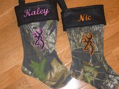 My kids will have these :) Personalized Mossy Oak Breakup/Deer Christmas Stocking. $25.00, via Etsy.