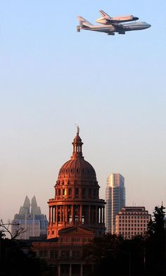 The space shuttle Endeavour passes by the Texas Capitol on Thursday morning as it makes its way across the country to Los Angeles. 9/20/2012
