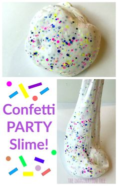 Confetti Party Slime Recipe - Easy Crafts for All Party Invitations Kids, Kid Party Favors, Diy Birthday, First Birthday Parties, Birthday Ideas, Frozen Birthday, 10th Birthday, Play Doh For Kids, 4 Kids