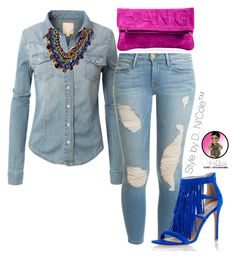 """Untitled #2832"" by stylebydnicole ❤ liked on Polyvore featuring LE3NO, Frame Denim and Steve Madden"
