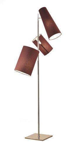 Cristiana Bertolucci:  Luminária de piso Sutra Tripla acabamento em latão e cupúla de tecido