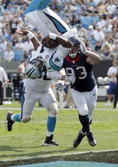 Carolina Panthers quarterback Cam Newton celebrates his touchdowns with a Superman gesture. Sunday, against the Houston Texans, Newton attempted to fly like the comic book hero. The 6-foot-5 Newton Dove into the endzone, and flipped — almost landing on his...