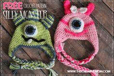 Crochet Silly Monster Hats ~ free pattern