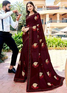 Embroidered Silk Trendy Saree Designer Sarees Online, Silk Sarees Online, Traditional Fashion, Traditional Sarees, Celebrity Gowns, Trendy Sarees, Saree Look, Work Sarees, Casual Saree