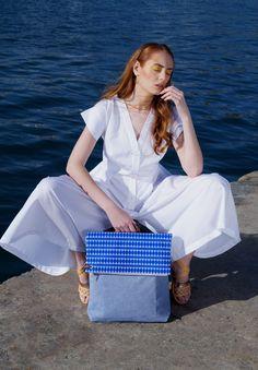 Twelve backpack with a removable top-clutch // design patent   Model: Sophia Zachariadou  Clothing: Lefkon  Sandals: Kalliniki Photographs: Iro Simaioforidou