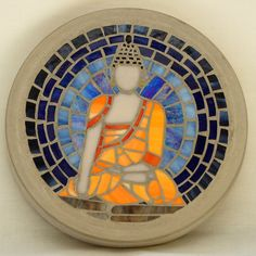 MADE TO ORDER Buddha 300mm Glass Mosaic Concrete Stepping Stone