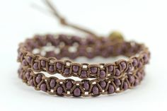 Beaded Wrap Bracelet : Pale Orchid. Purple Lilac and Simple Brown Cotton Bohemian Double Wrap Bracelet - Friendship Bracelet