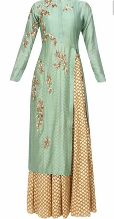 Joy Mitra presents Green floral embroidered kurta and gold brocade skirt with golden scarf available only at Pernia's Pop Up Shop. Pakistani Dresses, Indian Dresses, Indian Outfits, Indian Attire, Indian Wear, Kurta Designs, Blouse Designs, Ethnic Fashion, Asian Fashion