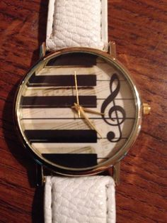 New Piano Treble Clef White Band Buckle Watch | eBay