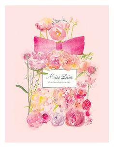 Miss Dior Blooming Bouquet perfume por mbaileyillustrations en Etsy