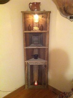 Diy Furniture : Barnwood corner shelf - https://diyloop.com/decoration/furniture/diy-furniture-barnwood-corner-shelf/ #Furniture