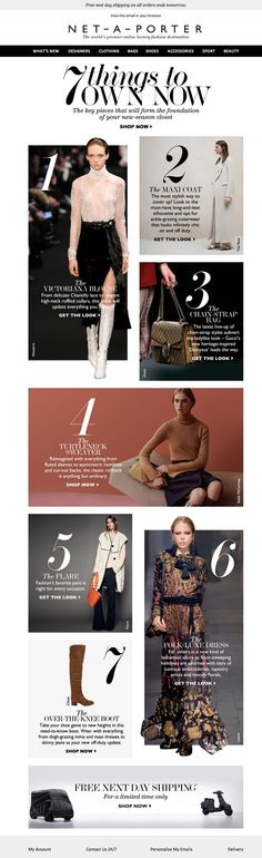 NET-A-PORTER newsletter fashion email fashion design email email marketing email inspiration e-mail Email Newsletter Design, Email Newsletters, Newsletter Ideas, Editorial Layout, Editorial Design, Editorial Fashion, Minimal Web Design, E-mail Design, Email Marketing Design