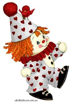 Ruth Morehead valentine clown with red bird Cute Clown, Send In The Clowns, Valentine's Day Printables, Cute Clipart, 3d Prints, Digi Stamps, Cute Illustration, Vintage Cards, Vintage Children