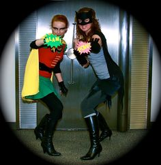 DIY Batgirl and Robin costumes using Goodwill supplies
