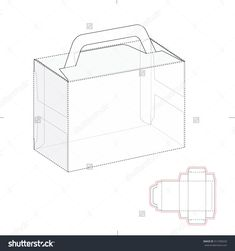 Carriage Box With Handle And Die Line Layout Stock Vector Illustration 312700220 : Shutterstock