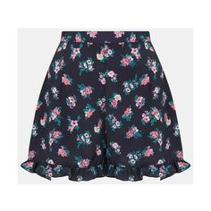 Topshop 'Ditsy Charlie' Frill Shorts ($64) ❤ liked on Polyvore featuring shorts, skirts, bottoms, pants, floral printed shorts, navy shorts, loose shorts, navy blue shorts and floral shorts