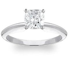 Exquisite! Women's 14k White-gold 2.07 ct Cushion Brilliant Moissanite Solitaire Engagement Ring - 7.5mm Size 6.  List Price: #EANF#  Savings: #EANF#