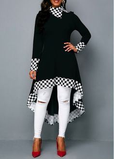 f44a336c97dd Long Sleeve Checkered Print Black High Low Sweatshirt