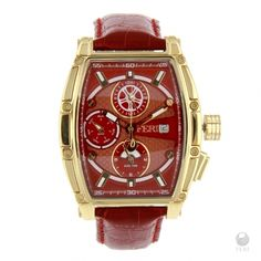 Red rectangular design dial  - Swiss made movement  - Gold toned metal rectangular case  - 3 piece Solid Stainless Steel Case  - 10 ATM of water resistance  - Date Function and 3 movements  - Genuine leather band with metal clasp  - Sapphire crystal glass face  - 3 year limited manufacturer warranty  - Hypoallergenic      Face: 49mm x 57mm (Including case and crown)  Band width: 21mm  Clasp: 26mm x 18mm | Shop this product here: spree.to/a7hp | Shop all of our products at…