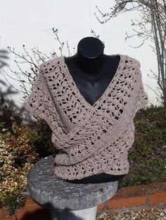 """Cache-coeur """"Eventail"""" crocheté en coton chamois : Pulls, gilets par arganie"""