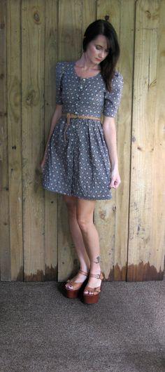 #Vintage Floral Dress #ShopBabyBird #etsy