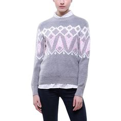Yoins Grey Geo-Tribal Sweater (£23) ❤ liked on Polyvore featuring tops, sweaters, grey, shirts & tops, geometric sweater, chunky sweater, gray shirt, leather oxfords and grey oxford shirt
