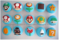 Super Mario Kids Birthday Cupcakes in Sydney Kids Birthday Cupcakes, Mario Birthday Cake, Super Mario Birthday, Super Mario Party, Super Mario Cupcakes, Cap Cake, Birthday Angel, Mario Bros., Mario Brothers