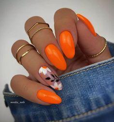 Orange Acrylic Nails, Almond Acrylic Nails, Best Acrylic Nails, Orange Nail Art, Neon Orange Nails, Bright Summer Acrylic Nails, Bright Nail Art, Summer Gel Nails, Bling Nails