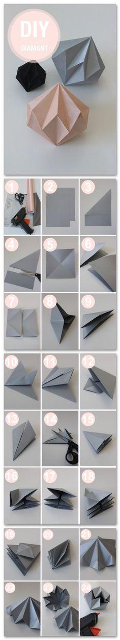Origami Diamant - Weihnachtsdeko für dieses Jahr. Origami diamant (can be put over en little christmastree-lamp)