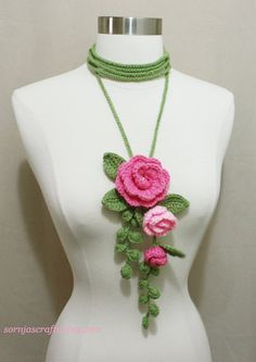 Unique Crochet Lariat/ Necklace with Flower, Crochet Flower Lariat, Handmade Necklace with Yarn, Sornja Crochet Flower Scarf, Crochet Flower Tutorial, Crochet Flowers, Modern Crochet Patterns, Crochet Flower Patterns, Unique Crochet, Beautiful Crochet, Easy Crochet Projects, Crochet Ideas