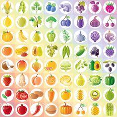 Vegetariano arco iris con frutas, vegetales, tuercas, bayas royalty-free stock vector art