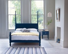 Beautiful arts and crafts inspired bed made from aged limed oak and finished in a contemporary palette.  #HealsAW15