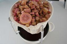 Rabarber, citroner, vanille og vinsyre overhældes med det kogende vand,  dækkes til og står i 2 døgn. <BR> <BR> Herefter sies hele molevitten gennem et  viskestykke. <BR> <BR> Til hver liter