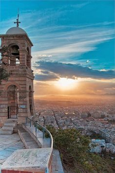 Lycabettus Hill, Athens; rode the funicular railway up to this beautiful spot. Cruise to Greece 2000