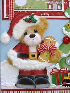 Christmas Santa Boy Tear Bear Premade Scrapbook Pages Paper Piecing Craftyemg | eBay