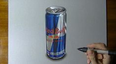 Watch on YouTube how I draw this Red Bull can
