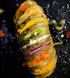 Rainbow Colored Hasselback Potatoes