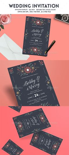 Floral Wedding invitation — Photoshop PSD #modern #invitation • Download ➝ https://graphicriver.net/item/floral-wedding-invitation/19269444?ref=pxcr