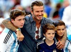 David, Brooklyn, Cruz & Romeo Beckham from 2014 World Cup Final: Star Sightings
