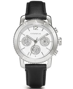 COACH WOMEN'S LEGACY SPORT BLACK LEATHER STRAP WATCH 36MM 14501972 - Watches - Jewelry & Watches - Macy's