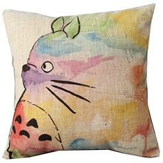 Hand Painted Colorful Lovely Totoro Chinchilla Throw Pillow Case Decor Cushion Covers Square 18*18 Inch Beige Cotton Blend Linen Hqclothingbox http://smile.amazon.com/dp/B00L4Q3V6O/ref=cm_sw_r_pi_dp_XoLLwb0F04NEX
