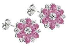 Silver flower stud earrings or pendant available as a set with CZ Pink sapphire crystals ** To view further for this item, visit the image link. (This is an affiliate link and I receive a commission for the sales)