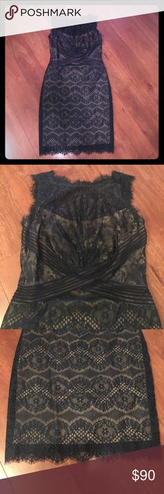 "Tadashi Shoji Lace Dress Gorgeous navy lace dress. Perfect condition. Fully lined. 38"" from shoulder to hem. 41"" to bottom of lace. 19"" flat across chest. 16.5"" flat across waist. 19"" flat across hips. This dress has a little stretch to it too! Amazing dress! It's a 12P, but I am 5'7"" and it fits me perfectly. Tadashi Shoji Dresses Midi"