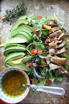 Rosemary Chicken, Avocado and Bacon Salad