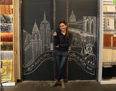 NYC skyline chalkboard art by Carolina Ro - now on site at our store.