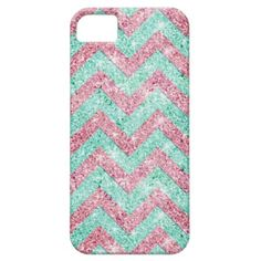 Chevron Pattern, pink & teal glitter photo print iPhone 5 Cases #zazzle : Got bling? :)