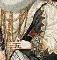 "Prateado E Dourado... ""Portrait of a Lady"" (c. 1590) (detail) by George Gower (1540-1596)."