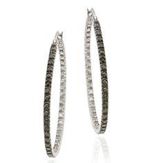 DB Designs Sterling Silver 32-mm Black Diamond Accent Hoop Earrings Women's
