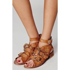 Free People Sunchaser Shoeboot Sandal  Super cute strappy sandals in a size 36/US 5.5. Great condition with signs of wear (shown in photos)  Please feel free to ask any/all questions! Free People Shoes Sandals