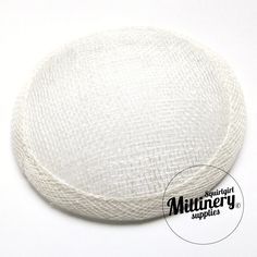 White Round Millinery Sinamay Hat Base for Fascinators, Cocktail Hats